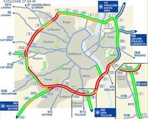 Carte du trafic sur la rocade Bordelaise